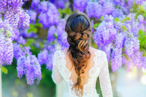 Bride with wisteria