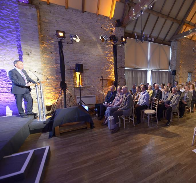 Product launch presentation at The Great Barn