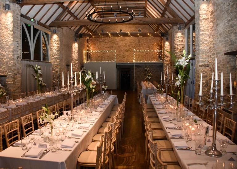 Formal meal setting at The Great Barn