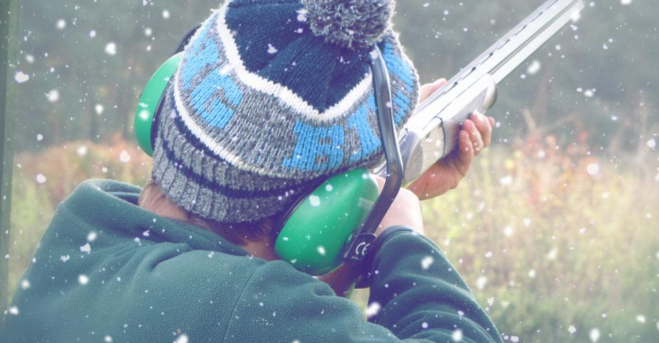 clay shooting in snow