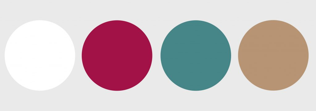 Cerise, Teal, Tan and White