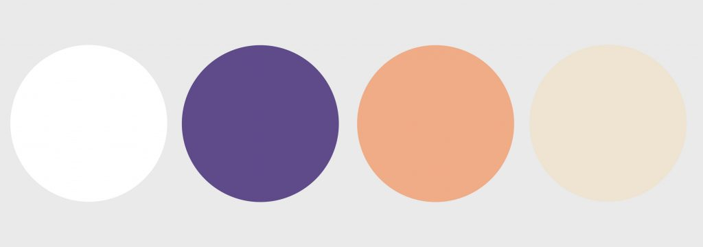 Purple, Peach, Ivory and White